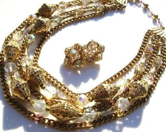 Vintage gold and aurora borealis necklace with matching clip on earrings
