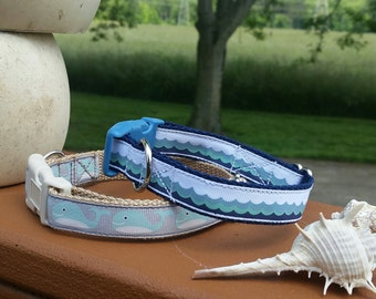 Nautical Beachy cute dog collar Whales & Waves - Medium Large doggie necklace