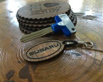 Subaru & Subaru Stars Double Sided Wood Keychain