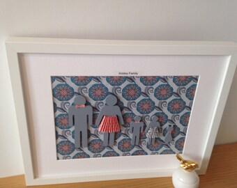 Our family customised frame, silhouette family, keepsake personalised frame, my family frame, family silhouette, framed gift