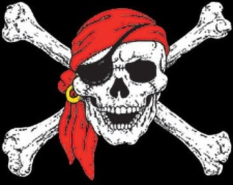 Pirate Skull Red Scarf  Tee Shirt