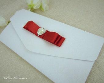 Red & White Pearl Pocketfold Invitation