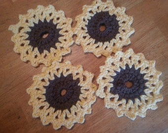 Crocheted Sunflower Coasters