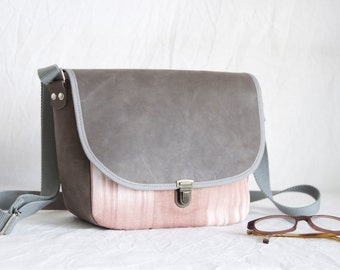 Small shoulder bag leather and cotton one