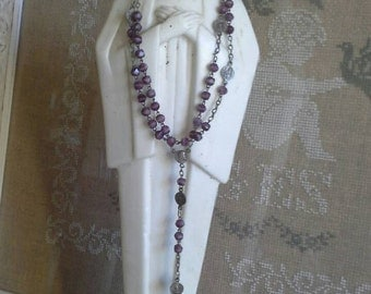 French vintage lavender glass beaded rosary