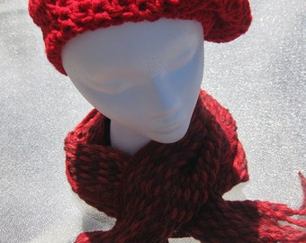 Red Crochet Woman's Beret