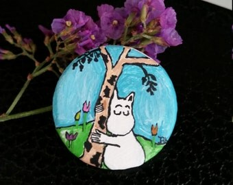 Tiny Moomin painted pin