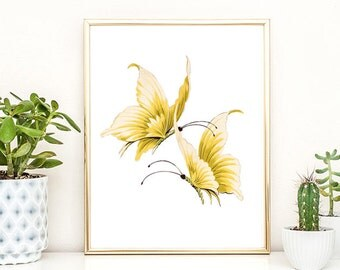 Butterfly Print Wall Art Printable Nature Print Yellow Butterfly Decor Baby Room Decor Kitchen Decor Wall