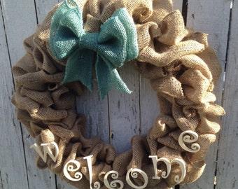 Door Wreath, Burlap Wreath, Welcome wreath, Housewarming Wreath