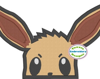 Eevee Pokemon Peeker Applique Machine Embroidery Design 5x7