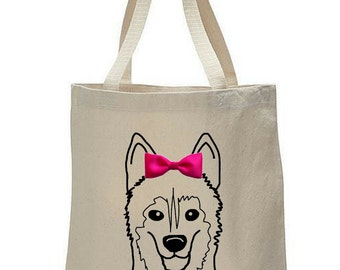 Dogs & Bow Ties: Husky Canvas Tote Bag