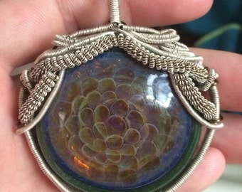 Wire wrapped Glass pendent