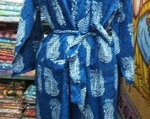 Block Printed Designer Cotton Kimono Women Bathrobe Hippie Robe Indigo Nightgown