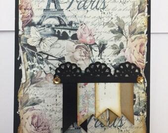 Vintage Handmade card - Paris
