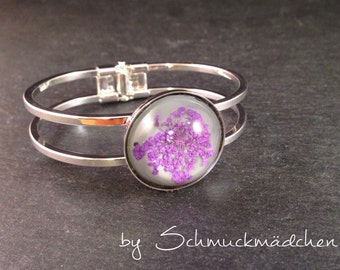 Bangle silver dill flower purple