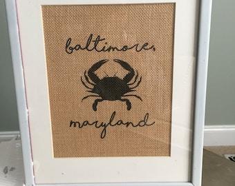 Baltimore, Maryland Burlap Print, Crab art; Maryland art