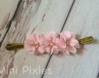 Pink chiffon and gold headband, Gold sparkly headband, Pink chiffon with jewels, pink and gold headband, Baby headband, fancy headband