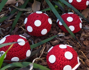 Red Fairy Toadstool Party Decoration - Fairy Birthday Party - Set of 3 or Set of 5