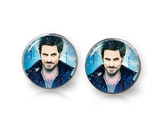 Captain Hook Stud Earrings Once upon a Time Fandom Jewelry Cosplay Fangirl Fanboy