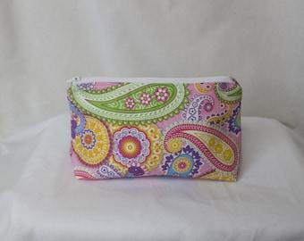 Pink paisley cosmetic bag