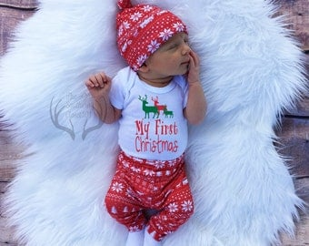 Unisex Christmas Outfit,My First Christmas,Baby, Girl Coming home outfit,Boy Coming Home Outfit,Bears,Trees,Deer,Red and White,Country