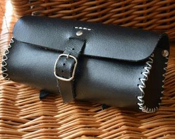 Handmade leather bicycle saddle tool bag