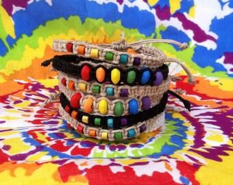 Pride Rainbow Hemp Bracelet