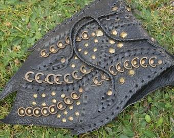 Leather steampunk bag, biker bag, black goth crossbody bag, festival fashion, burning man bag,