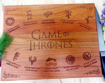 GAME of THRONES cutting board. Dinner is Coming. Khaleesi. House Stark. Lazer Engraved Cutting Board. Gift for him, Dad, groomsmen. Shower.