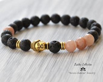 Lava Black Bracelet|Gift|for him|Mens|Beaded Bracelet|tibetan bracelet|Mens gift|Gemstone Bracelet|Mala Bracelet|Mens bracelet