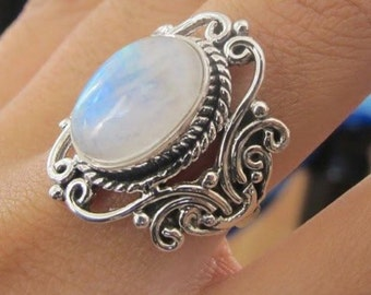 Moonstone Ring, 925 Sterling Silver Ring, Rainbow Moonstone Rings, Moonstone Rings