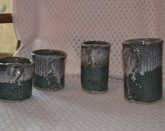 Set of 4  Handbuilt Pottery Bar Glasses