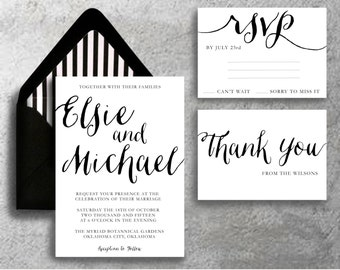 Printable Calligraphy Wedding Invitation