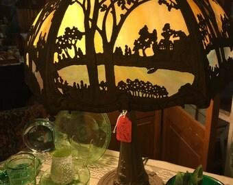 1920'S Slag Glass Lamp