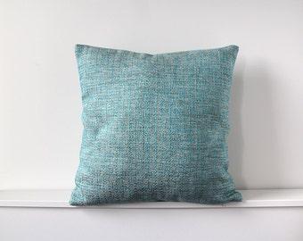 Cushion cover | Aquamarine blue, taupe and cream | 41cm x 41cm