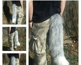 27 inch Gray and White Fox Tail