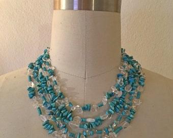 Turquoise and Quartz Multi Layer Statement Necklace