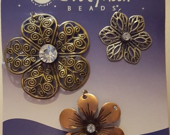 Metal Floral Charms