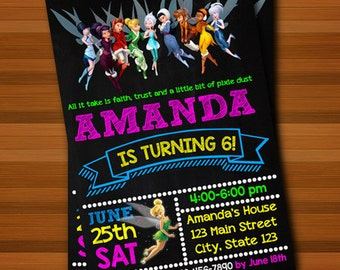 Tinkerbell Invitation,Tinkerbell Chalkboard Invitation,Tinkerbell Birthday,Tinkerbell Party,Invitation,Chalkboard,Birthday,Party,Card Party