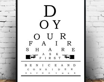 Family Rules, Kitchen Poster, Vintage Eye Chart, Eye Chart Art Print,  Printable Digital Download