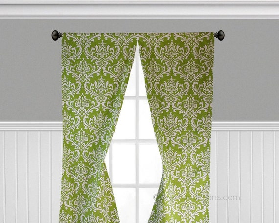 Lime Green Curtains Chartreuse Green Window By Sewmanylinens