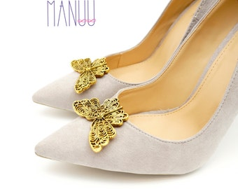 Golden butterflies - Shoe clips Manuu, Shoe jewelry, Wedding  shoe clips, Bridal shoe clips