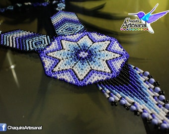 Mexican Huichol Necklace blue Mandala-craft in Chaquira-Collar mustard seed-beaded necklace-jewelry Huichol