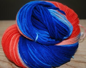 Hand Dyed Skein - Blue and Salmon - Dk - New Merino Wool - 4 ply - 233m -100gm