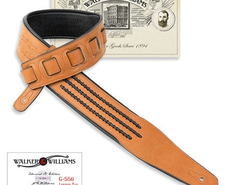 Walker & Williams London Tan Padded Guitar Strap with Barbed Wire Lacing G-556