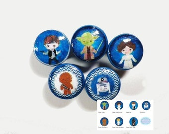 Star Wars Kids Decorative Knobs. 7 Different Star Wars Kids Characters.  Buy Individually, Only As Many As You Need.