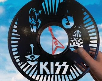 Kiss band art made of vinyl record Rock and roll decor Gene Simmons Paul Stanley Ace Frehley Band art Music gift wall handmade design