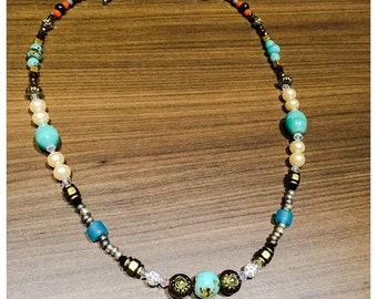 Necklace Bohemian mix beads turquoise and Swarovski