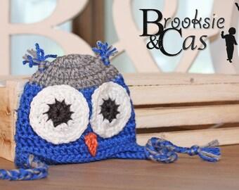 The Blue Gray Owl Handmade Crochet Infant Toddler Child Teen Adult Hat