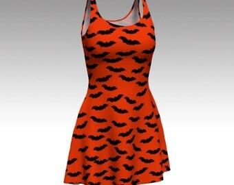Bat Dress, Orange Dress, Black and Orange, Halloween Bats, Halloween Dress, October, Flare Dress, Skater Dress, Fitted Dress, Bodycon Dress